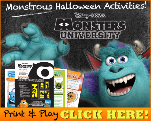 Disney's Monsters University FREE Printables and Activities for Halloween