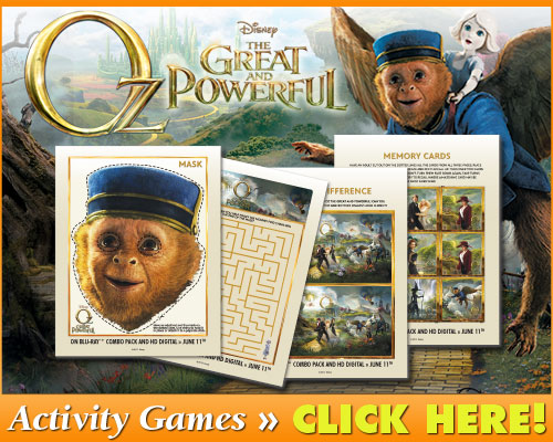 2013 Disney Movies: Free Printable Oz the Great and Powerful Activities & Games