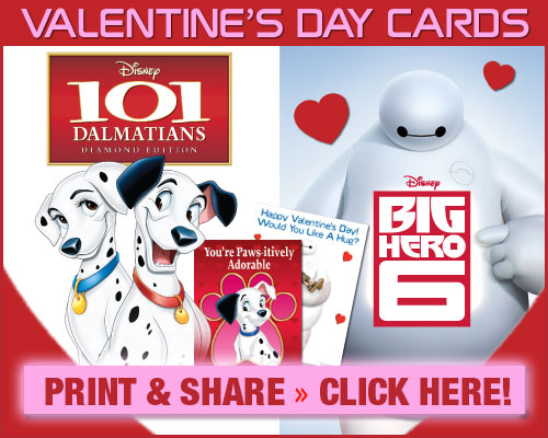 Big Hero 6 & 101 Dalmatians Printable Valentine's Day Cards