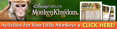 Printable Monkey activity sheets Disneynature Monkey Kingdom Activities